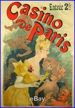 Affiche AncienneCasino de Paris Jules Cheret 1891 Litho Entoilée
