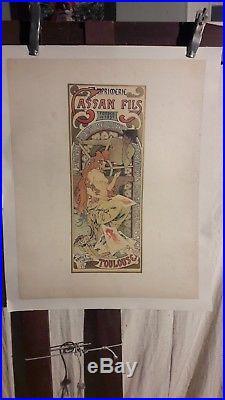 Affiche Anciennne Mucha Imprimerie Cassan