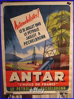 Affiche Antar Petrole Alsace Pechelbronn Derricks