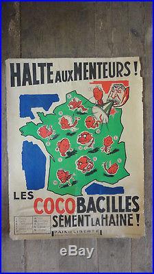 Affiche Anticommuniste Thorez Staline Imprimerie Speciale Paix Et Liberte