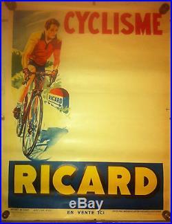 Affiche Authentique ancienne RICARD Le cyclisme 50 X 65 cm années 1950