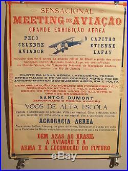 Affiche Aviation Bresil Latecoere Lafay Santos Dumont