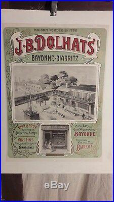Affiche Bayonne Biarritz Vins Et Spiritueux Dolhats 1900