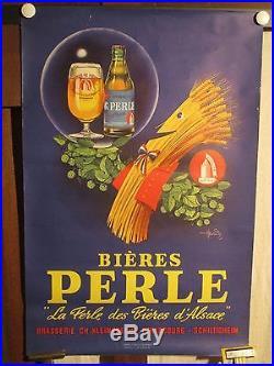 Affiche Biere Perle Alsace Gerbe Houblon Marrante