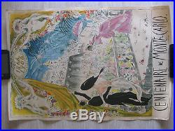 Affiche CENTENAIRE DE MONTE-CARLO 1866 1966 original 62 cm sur 42 cm