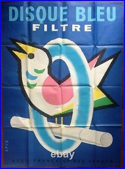 Affiche CIGARETTES DISQUE BLEU FILTRE Stis Oiseau 120x160cm 80's