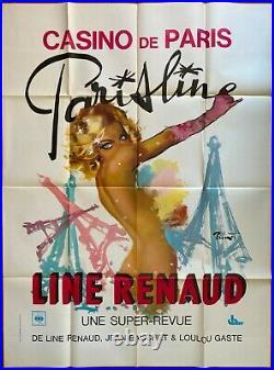 Affiche Cabaret CASINO DE PARIS Line Renaud BRENOT Pin-Up TOUR EIFFEIL 120x160