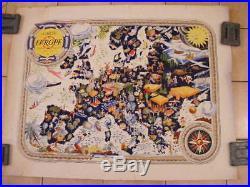Affiche Carte Europe en litho édit Jacques Petit 1955 dessin de Pierre Hérault