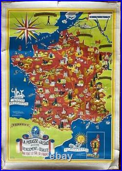 Affiche Carte FRANCE POTASSE D'ALSACE Agriculture LUCIEN BOUCHER 64x90cm 50's