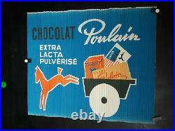 Affiche Chocolat Poulain Sur Carton Ondule Curiosite