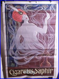 Affiche Cigarettes Saphir Superbe Femme Orientaliste Lampe Magique