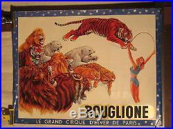 Affiche Cirque Bouglione Lions Tigres Femme Dresseuse