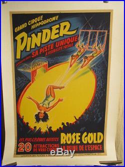 Affiche Cirque Pinder Trapeziste Femme Rose Gold