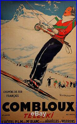 Affiche Combloux Teleski Paul Ordner Chemins De Fer Francais Imp Ch Bahy Z211