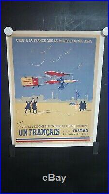 Affiche Commemoration Henri Farman 1908 Signee Lucien Cave 38x30cm