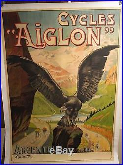 Affiche Cycles Aiglon Montagnes Coureurs Argenteuil