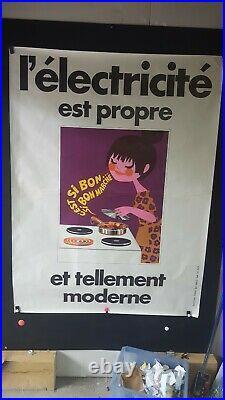 Affiche Electricite Lefor-openo Fillette Sympa Annees 1960
