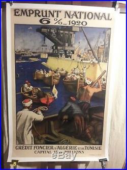 Affiche Emprunt Credit Algerie Tunisie Superbe 1918