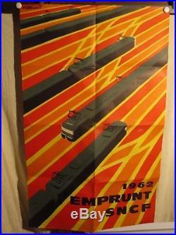 Affiche Emprunt Sncf Villemot Trains Graphique