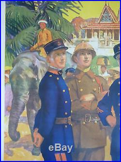 Affiche Engagez-vous Troupes Coloniales 1930 Laos Cambodge Indochine Asie