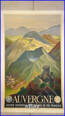 Affiche Entoilee Auvergne Sncf 1938 / Andre Giroux Chemins De Fer Francais