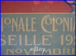 Affiche Exposition Nationale Coloniale Marseille 1922 Dellepiane laotienne Laos