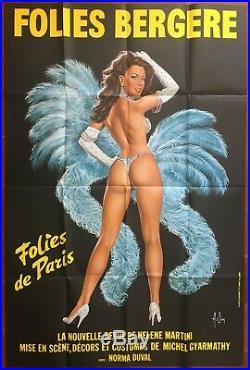 Affiche FOLIES BERGERE Folies de Paris ASLAN Cabaret 100x150cm bleu 1982