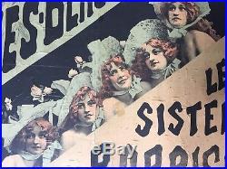 Affiche FOLIES BERGERE LES SISTERS BARRISON Alfred Choubrac Cabaret 1890