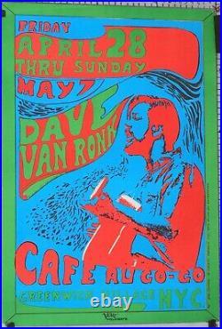 Affiche Gail Cochran 1967 Dave Van Ronk Cafe Au Go-go Greenwich Village Hippie
