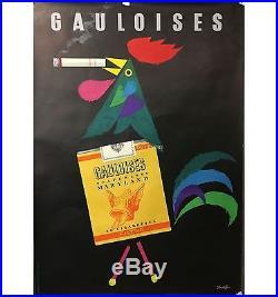 Affiche Gauloises jaunes cigarettes maryland tabac fumeur coq français vers 1950