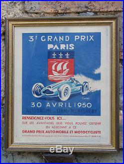 Affiche Geo Ham. Grand Prix De Paris. Montlhery. 1950. Encadree. Bel Etat