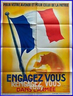 Affiche Guerre WWII ENGAGEZ-VOUS RENGAGEZ-VOUS DANS L'ARMEE Veyron-Lacroix 1939