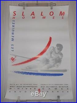 Affiche Jeux Olympiques D'hiver 1992 Slalom Hommes Les Menuires Ski