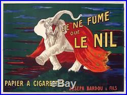 Affiche L. Cappiello Je Ne Fume Que Le Nil Bardou & Fils Elephant 1912