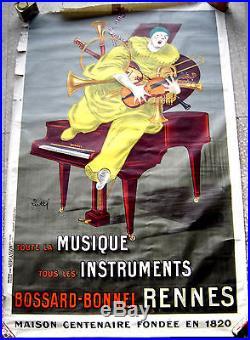 Affiche LITHO originale de 1925 Instruments Musique Bossard-Bonnel à RENNES