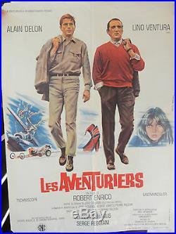 Affiche Les Aventuriers avec Alain Delon et Lino Ventura film Robert Enrico