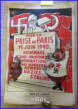 Affiche Lithographie Originale Caricature Guerre 1939-45 Pour La Prise De Paris