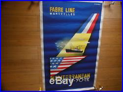 Affiche Lithographiee Compagnie Maritime Fabre Line (paquebot, New York)