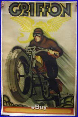 Affiche Lithographiee De Bernard Lancy Entoilee. Griffon. Moto. 116 X 74 CM