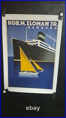 Affiche Maritime Allemande Deco Superbe Rare Koeke