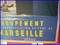 Affiche Marseille le port 1947 par Nathan Garamond originale