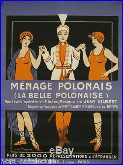 Affiche Ménage Polonais (La belle Polonaise) Opérette. Par Géo Dorival, 1914