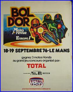 Affiche Moto revue Bol d'Or d Or Le Mans 1976 course moto par Magnin Honda Total