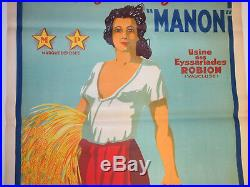 Affiche Moullot lithographiée ancienne MANON / PIN UP 120x80cm Superbe état