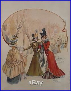Affiche Originale 1900 Ancienne Mode Chapeau Femmes Taille Fine Aigrette