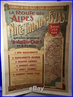 Affiche Originale 1919 Nice Thonon Evian
