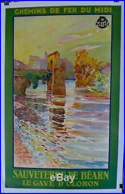 Affiche Originale 1935 Le gave d'oloron a Sauveterre de Bearn Entoilee TBE