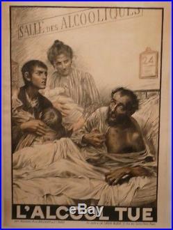 Affiche Originale Ancienne Alcool Tue Absinthe Croix Bleu Sante Hopital Enfants