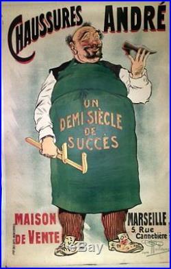 Affiche Originale Ancienne Chaussures Andre Par Guillaume Magasin Marseille
