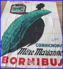 Affiche Originale Ancienne Collection Bornibus Cornichons 4 panneaux Paul Mohr